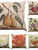 Set of 6 American Style Retro Fruit Pattern  Linen Pillowcase Sofa Home Decor Cushion Cover  Throw Pillow Case (18*18inch)