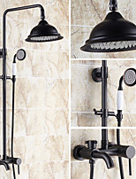 Antique Country Modern Shower Only Rotatable with  Ceramic Valve Single Handle Two Holes for  Nickel Brushed , Shower Faucet