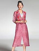 Для женщин На каждый день лето осень Пальто Рубашечный воротник,Очаровательный Цветочный принт Обычная Рукав ½,лён Шелк
