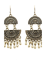 Vintage Women Two Circular Resin  Alloy Drop Earrings