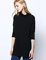 Women's Casual/Daily Simple Long Pullover,Solid Stand Long Sleeve Wool Winter Medium Micro-elastic