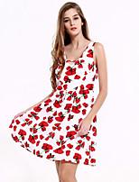 Balançoire Robe Femme Sortie Décontracté / Quotidien simple,Fleur V Profond Au dessus du genou Sans Manches Polyester Eté Taille Normale