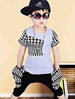 Boy's Cotton Fashion Pure Cotton Round Collar  Decals  Printing Short Sleeve Harlan Shorts Street Dance Eng Two-Piece Outfit