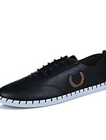 Белый Черный-Для мужчин-Для прогулок Повседневный Для занятий спортом-Полиуретан-На плоской подошве-Баллок обувь-Кеды