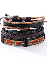 The New Vintage Cowhide Ancient Hand Woven Bracelet Cortical Layers Hand Rope Men's Bracelet Adjustable Size038