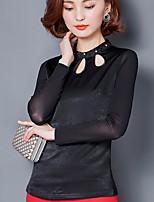 Sign new shirt female Korean Slim thin hollow long-sleeved shirt collar shirt