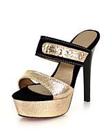 Feminino-Chinelos e flip-flops-Chanel-Salto Agulha-Dourado Preto-Couro Ecológico-Social Casual