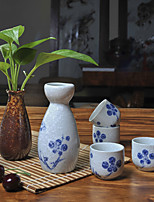 Japanese blossom Hand-Painted High Temperature Porcelain Sake Wine set with four cups