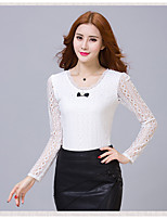 Long-sleeved shirt 2017 new bow Slim thin yards chiffon lace shirt