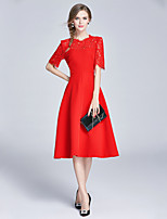 EWUS/Women's Going out Casual/Daily Party/Cocktail Street chic Sophisticated Sheath DressSolid Round Neck Knee-length Short Sleeve Polyester