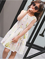 Girl's Casual/Daily Solid Print Dress,Cotton Polyester Summer Short Sleeve