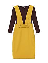 Debardeur Robes Costumes Femme,Géométrique Sortie Décontracté / Quotidien Sexy Vintage Sangle Hiver Manche Longues Col Arrondi Volants
