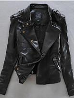 Для женщин На каждый день осень Кожаные куртки Воротник-стойка,Богемный Однотонный Короткие Длинный рукав,Шерсть