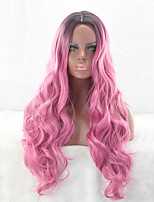 Heat Resistant Synthetic Wig Rose Red with Dark Roots Natural Fashion Popular Wig Daily Female Hairstyle Body Wave Sexy Trendy Wig