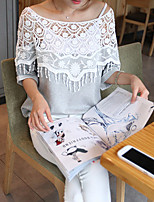 Women's Going out Casual/Daily Holiday Simple Cute Street chic All Seasons Summer T-shirt,Solid Round Neck ½ Length Sleeve White Gray