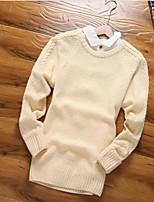 Herren Standard Pullover-Lässig/Alltäglich Solide Rundhalsausschnitt Langarm Baumwolle Winter Mittel Mikro-elastisch