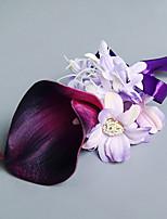 Bouquets de Noiva Forma-Livre Lírios Peônias Alfinetes de Lapela Casamento Festa / noite Cetim