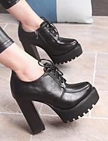 Damen-High Heels-Lässig-PU-Blockabsatz Block Ferse-Fersenriemen-