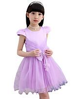 Vestido Chica de Playa Un Color Algodón Poliéster Manga Corta Verano Primavera