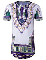 Tee-shirt Homme,Imprimé Sortie Décontracté / Quotidien Soirée Vintage Bohème Chic de Rue Manches Courtes Col Arrondi Coton Polyester