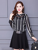 Women's Going out Cute A Line Dress,Striped Round Neck Above Knee Long Sleeve Cotton Spring Summer Mid Rise Micro-elastic Medium