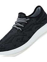 Men's Sneakers Spring Fall Comfort Light Soles Linen Outdoor Casual Athletic Walking Flat Heel Lace-up Black Gray