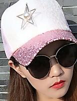Sequins Pearl Star Color Block Sunscreen Shading Mesh Patchwork Beach Sun Hat Baseball Cap