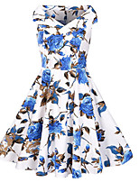 Women's Casual/Daily Vintage Sheath Dress,Print Boat Neck Midi Sleeveless Cotton Polyester Summer Fall Mid Rise Micro-elastic Medium
