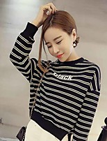 Women's Casual/Daily Simple T-shirt,Striped Round Neck Long Sleeve Cotton Thin