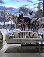 Art Deco Wallpaper For Home Wall Covering Canvas Adhesive Required Mural Colored Snowman WolvesXXXL(448*280cm)