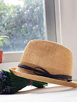 Women's Cotton Blend Straw Hat,Casual Solid Spring