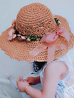 Girl's Lovely Fashionable Elegant Pearl Double Color Flower Doll Big Beach Hat In A Straw Hat