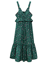 Women's Plus Size Going out Beach Sexy Cute Sheath Dress,Solid Floral V Neck Knee-length ¾ Sleeve Cotton Summer High Rise Micro-elastic