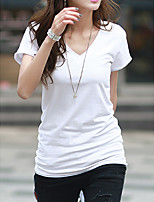Women's Casual/Daily Simple Spring Summer T-shirt,Solid V Neck Short Sleeve Cotton Medium
