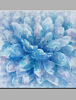 Hand-Painted Abstract Blue Flower Modern One Panel Canvas Oil Painting For Home Decoration