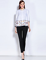Mary Yan&Yan Going out Casual/Daily Work Simple All Seasons ShirtEmbroidered Stand  Sleeve Blue White Cotton Medium