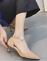 Femme-Décontracté-Noir Amande-Talon Bas-Confort-Chaussures à Talons-Daim