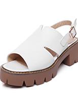 Белый Черный-Для женщин-Для праздника-Полиуретан-На толстом каблуке Блочная пятка-Босоножки-Сандалии