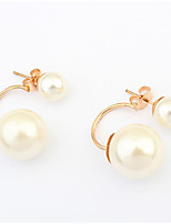 Stud Earrings Pearl Imitation Pearl Alloy White Jewelry Casual 1 pair