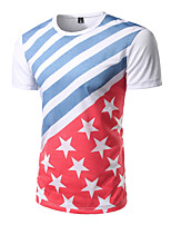 Men's Going out Casual/Daily Simple All Seasons T-shirt,Print Round Neck Short Sleeve Cotton Polyester Medium