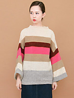 Women's Casual/Daily Simple Long Pullover,Striped Boat Neck Long Sleeve Wool Spring Fall Medium Micro-elastic