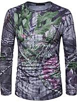 Tee-shirt Homme,Géométrique Décontracté / Quotidien Habillées Chic de Rue Manches Longues Col Arrondi Polyester