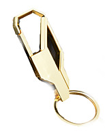 Key Chain Circular Black Gold Metal