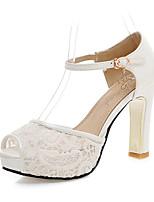 Mujer-Tacón Robusto-Zapatos del club-Sandalias-Oficina y Trabajo Vestido Fiesta y Noche-Tul-Blanco Negro Azul Rosa