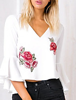 Women's Going out Work Vintage Sophisticated Blouse,Floral V Neck ½ Length Sleeve Rayon Polyester