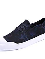 Hombre-Tacón Plano-Confort Suelas con luz-Zapatillas de deporte-Exterior Oficina y Trabajo Informal-PU-Negro/blanco Negro / azul