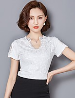 Women's Going out Casual/Daily Sexy Street chic T-shirt,Embroidered V Neck Short Sleeve Polyester