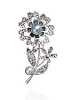 Women's Brooches Imitation Pearl RhinestoneBasic Unique Design Flower Style Rhinestone Natural Friendship Double Pearls Cute Style