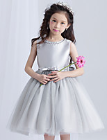 A-line Knee-length Flower Girl Dress - Tulle Jewel with Beading Bow(s)