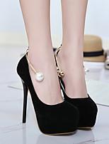 Damen-High Heels-Lässig-Wildleder-Stöckelabsatz-Komfort-Schwarz